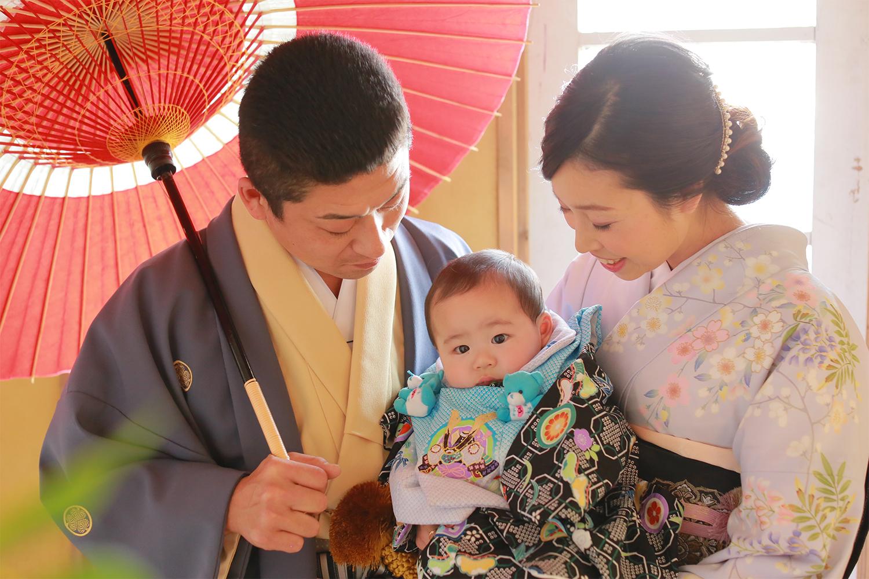 きもので家族写真